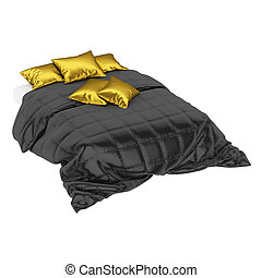 Bed with white sheet, black blanket and gold pillows on a white background. 3d rendering