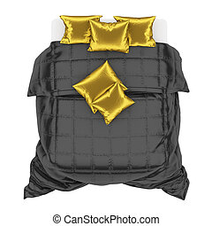 Bed with white sheet, black blanket and gold pillows on a white background top view. 3d rendering