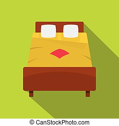 Bed with yellow blanket icon, flat style