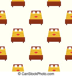 Bed with yellow blanket pattern seamless