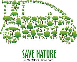 bedaard, auto, symbool, bomen, ecologisch, groene
