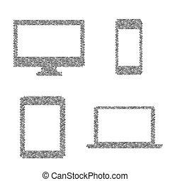 bedaard, symbolen, van, elektronisch apparaat