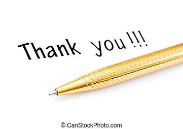 bedankt, boodschap, en, pen, op wit