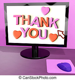 bedankt, boodschap, op, computerscherm, het tonen, online,...