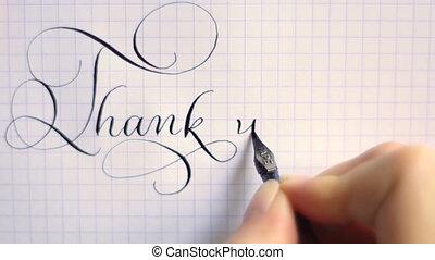 bedankt, frase, kalligrafie, en, lettering, pen, ouderwetse...