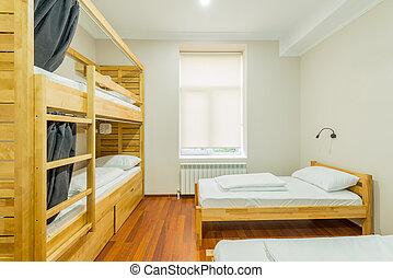 bedden, slaapzaal, geschikte, kamer, herberg