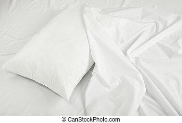 beddengoed, slaap, bladen, bed, hoofdkussen