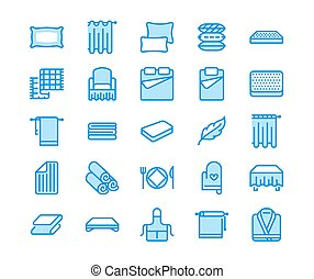 Bedding flat line icons. Orthopedics mattresses, bedroom linen, pillows, sheets set, blanket and duvet illustrations. Thin signs for interior store. Pixel perfect 48x48