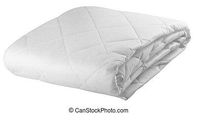 bedding, folha, ligado, a, fundo branco