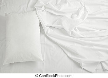 bedding sheets and pillow sleep bed - close up of bedding ...