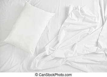 bedding sheets and pillow sleep bed - close up of bedding...