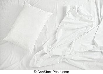 bedding, sono, folhas, cama, travesseiro