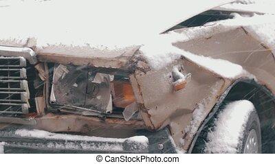 bedeckt, autounfall, schnee, kaputte