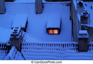 bedeckt, dachenden, schnee