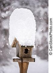 bedeckt, haus, vogel, winter, schnee