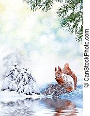 bedeckt, schnee, winter- bäume, landschaft.