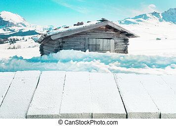 bedeckt, tisch, winterlandschaft, schnee