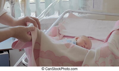 bedekking, deken, slapende, pasgeboren, moederschap, moeder, baby, ziekenhuis