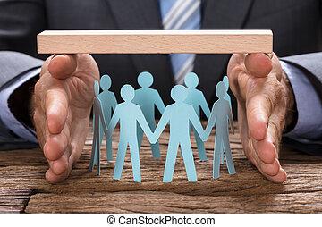 bedekking, houten, handen, papier, team, zakenman, plank