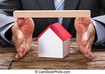 bedekking, houten, handen, thuis, zakenman, model, plank