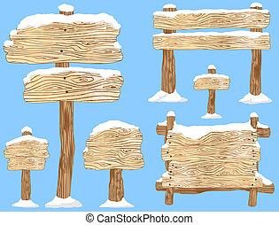 bedekt, sneeuw, tekens & borden