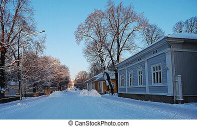 bedekt, straat, sneeuw