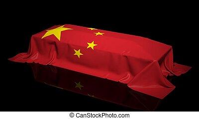 bedekt, vlag, china, doodskistje