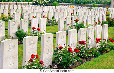bedford, hus, kyrkogård, en, ypres, belgien, värld, krig, flander