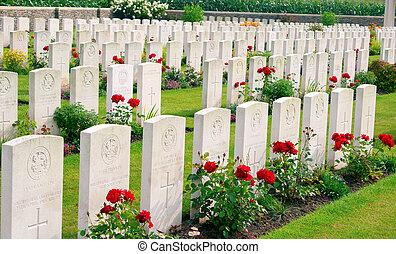 bedford, maison, cimetière, une, ypres, belgique, guerre mondiale, flander