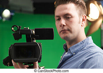 bediener, fernsehkamera, studio, mann