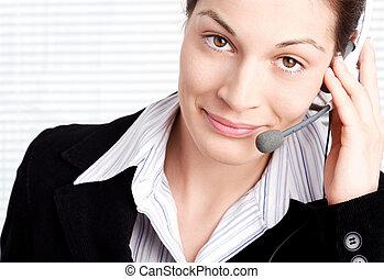 bediener, mit, kopfhörer