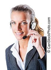 bediener, weißes, anruf- mitte, freigestellt