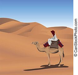 Bedouin and Camel - Background illustration with a bedouin...