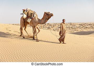 Bedouin and camels in sand dunes in desert under clean sky