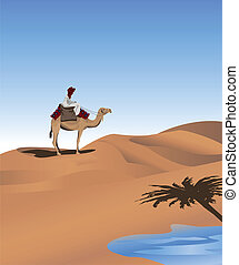 Bedouin - Background illustration with a bedouin and a camel...