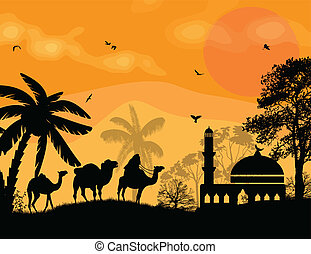 Bedouin camel caravan in arabian landscape on sunset, vector...