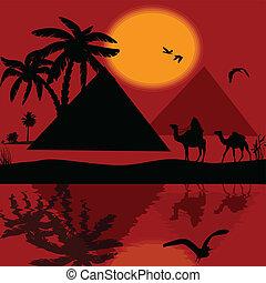 Bedouin camel caravan in wild africa landscape with...