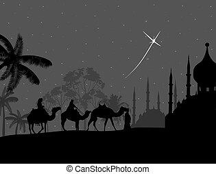 Bedouin camel caravan on night