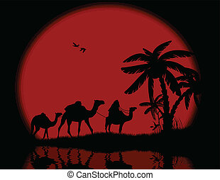 Bedouin camel caravan with full moon and reflexion on water,...