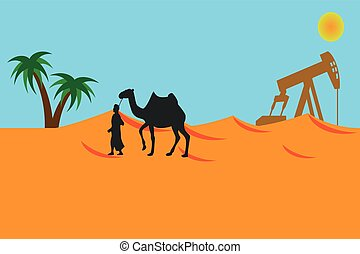 Bedouin in the desert . Arab with a camel . Landscape of the desert