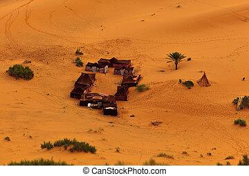 bedouin, luchtopnames, tentjes, marocco, sahara, groep, woestijn, aanzicht
