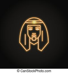 Bedouin man icon in glowing neon style. Middle east human...