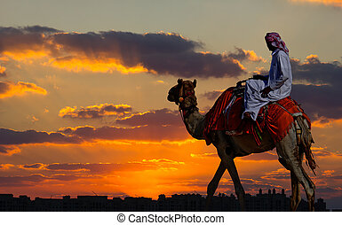 Bedouin on a camel in the desert and a modern city on the horizon