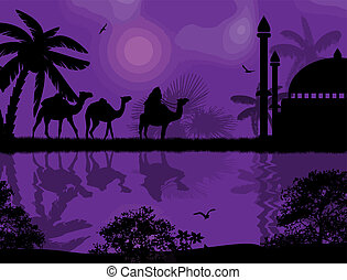 Bedouin riding camel during the beautiful night - Abstract...