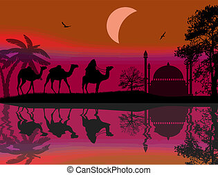 Bedouin riding camel during the red night - Abstract...