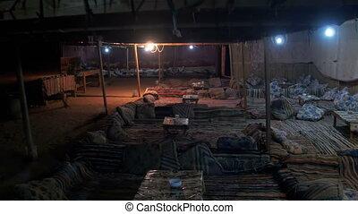 Bedouin Settlements in the Egyptian Desert at Night....