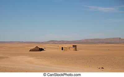 Bedouin tent in desert