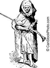 Bedouin, vintage engraving. - Bedouin, vintage engraved...