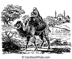 Bedouin with child on camel