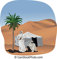 Bedouins - Background illustration with bedouins and a tent...